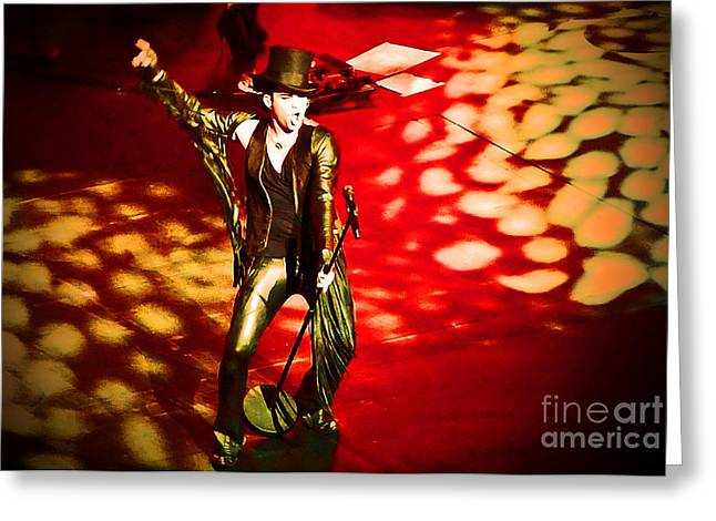 Adam Lambert Greeting Cards - Showman Greeting Card by Marguerita Tan