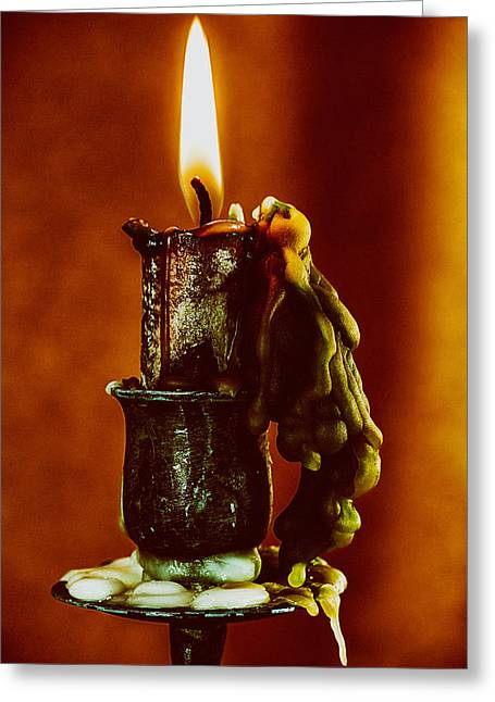 Hot Wax Greeting Cards - Flame and Wax Greeting Card by Mountain Dreams