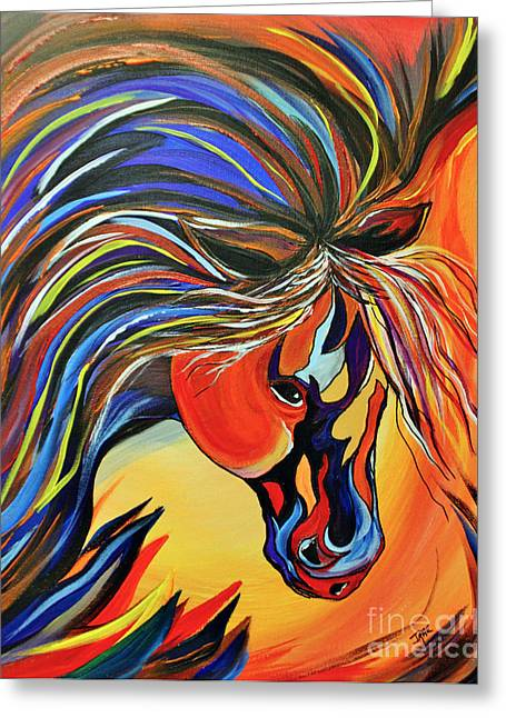 Black Painted Edges Greeting Cards - Flame Bold and Colorful War Horse Greeting Card by Janice Rae Pariza