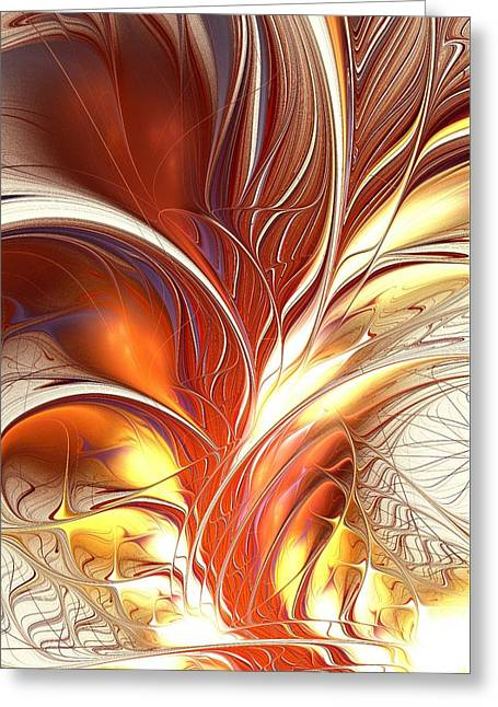 Spectacular Mixed Media Greeting Cards - Flame Burst Greeting Card by Anastasiya Malakhova