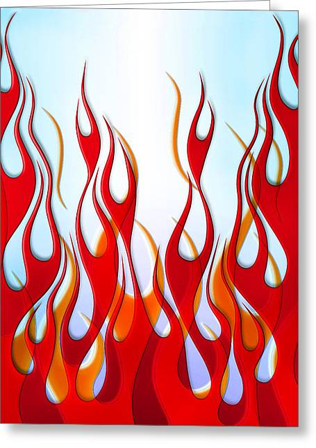 Motorcycles Greeting Cards - Flame Design Phone Case Greeting Card by Mark Rogan