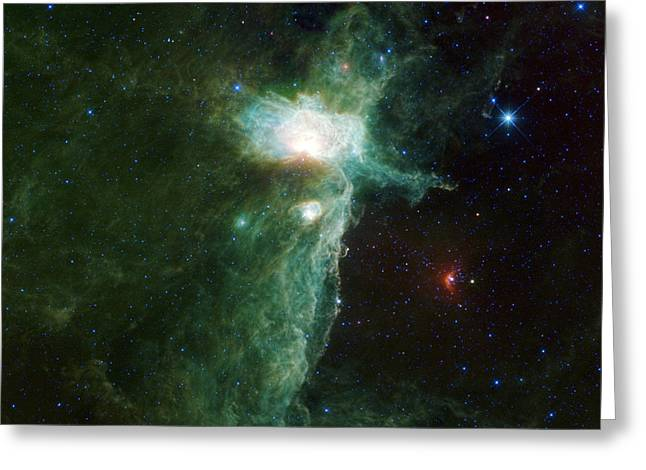 Abstract Constellations Greeting Cards - Flame Nebula Greeting Card by Adam Romanowicz