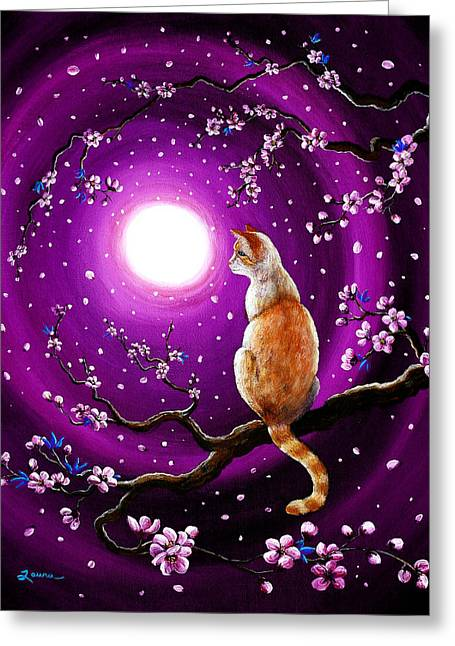 Surreal Cat Landscape Greeting Cards - Flame Point Siamese Cat in Dancing Cherry Blossoms Greeting Card by Laura Iverson