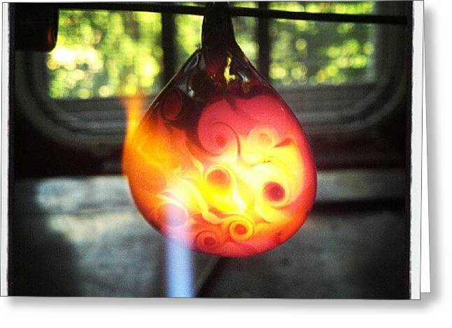 With Glass Art Greeting Cards - Flame polishing Greeting Card by Deenie Wallace