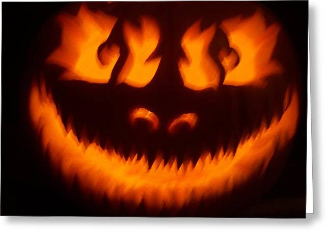 Unethical Greeting Cards - Flame Pumpkin Greeting Card by Shawn Dall