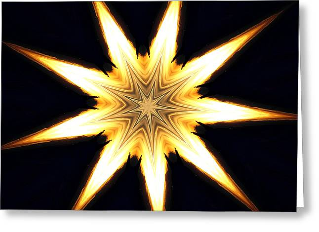 On Fire Mixed Media Greeting Cards - Flame Star Greeting Card by Erica  Darknell