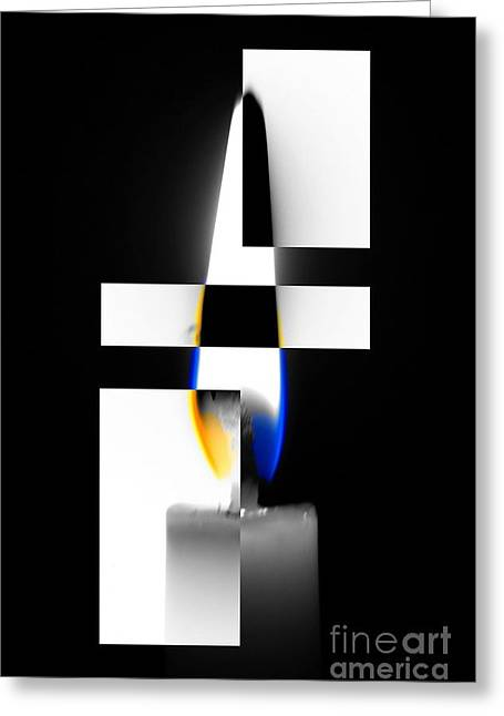 Reverse Art Greeting Cards - Flame Toner Greeting Card by KJ Bruce - Infinity Fusion Art