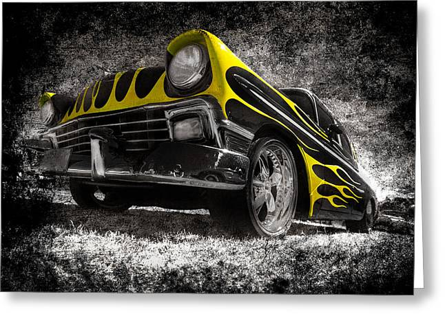 Phil Motography Clark Photographs Greeting Cards - Flamed Chevrolet Bel Air Greeting Card by motography aka Phil Clark