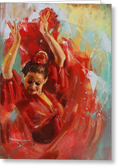 Hip Hop Paintings Greeting Cards - Flamenco 33 Greeting Card by Maryam Mughal