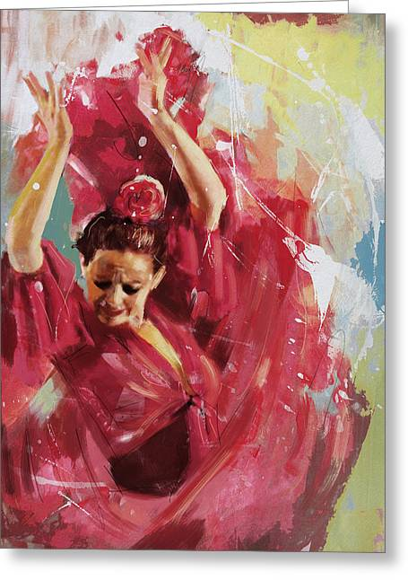 Stage Plays Greeting Cards - Flamenco 34 Greeting Card by Maryam Mughal