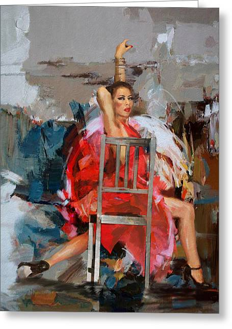 Hip Hop Paintings Greeting Cards - Flamenco 36 Greeting Card by Maryam Mughal