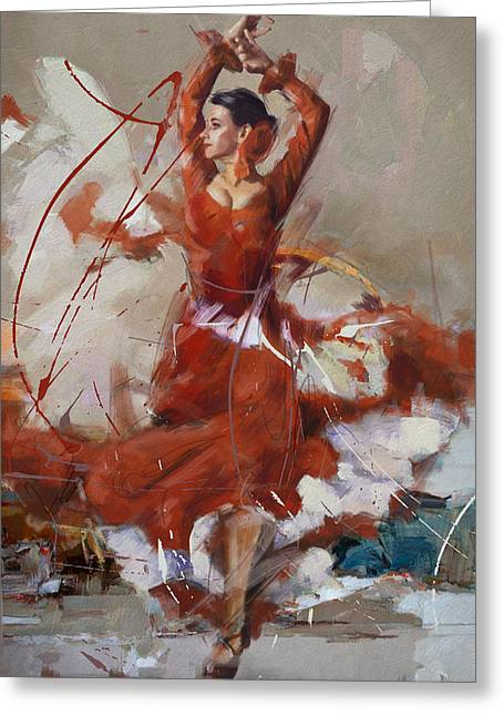 Expressionist Girl Greeting Cards - Flamenco 37 Greeting Card by Maryam Mughal