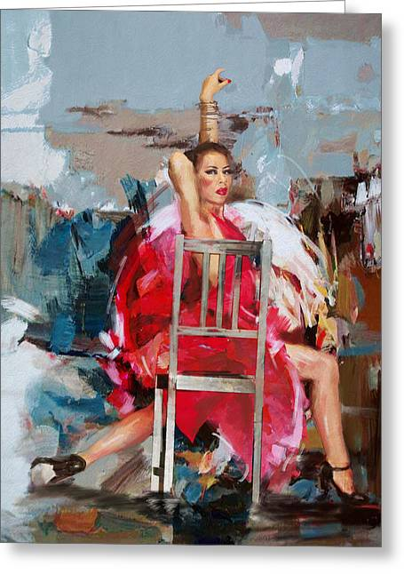 Stage Plays Greeting Cards - Flamenco 38 Greeting Card by Maryam Mughal