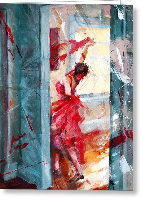 Stage Plays Greeting Cards - Flamenco 39 Greeting Card by Maryam Mughal