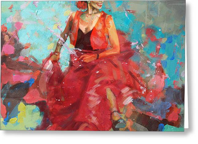 Hip Hop Paintings Greeting Cards - Flamenco 40 Greeting Card by Maryam Mughal