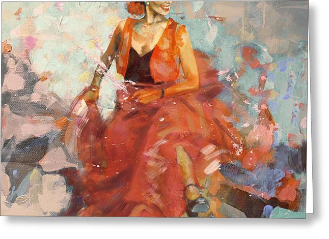 Stage Plays Greeting Cards - Flamenco 41 Greeting Card by Maryam Mughal