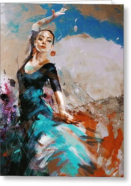 Hip Hop Paintings Greeting Cards - Flamenco 42 Greeting Card by Maryam Mughal