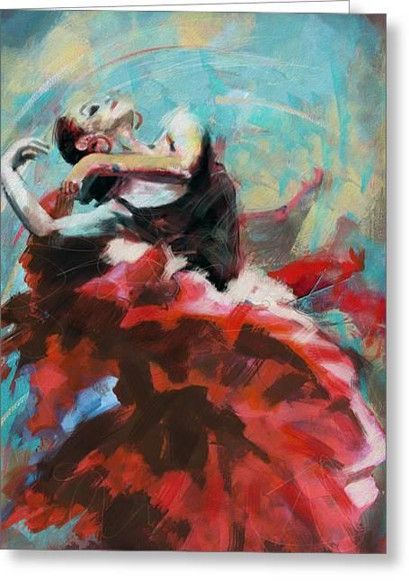 Dancing Girl Greeting Cards - Flamenco 45 Greeting Card by Maryam Mughal