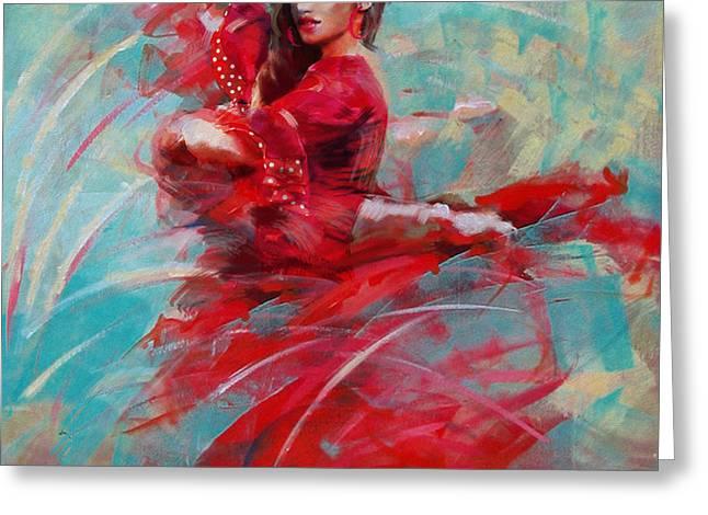 Dancing Girl Greeting Cards - Flamenco 46 Greeting Card by Maryam Mughal