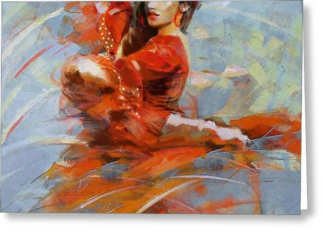 Strength Paintings Greeting Cards - Flamenco 47 Greeting Card by Maryam Mughal