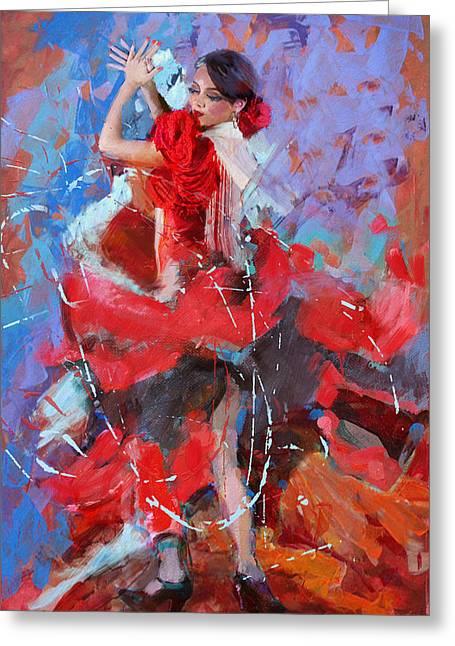 Bold Strokes Greeting Cards - Flamenco 48 Greeting Card by Maryam Mughal