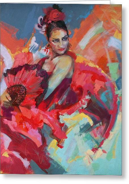 Painting Drapery Greeting Cards - Flamenco 49 Greeting Card by Maryam Mughal