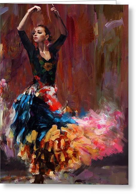 Dancing Girl Greeting Cards - Flamenco 50 Greeting Card by Maryam Mughal