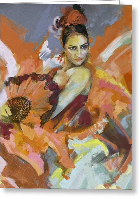 Strength Paintings Greeting Cards - Flamenco 51 Greeting Card by Maryam Mughal