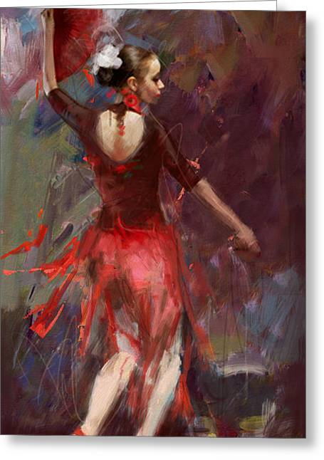 Dancing Girl Greeting Cards - Flamenco 52 Greeting Card by Maryam Mughal