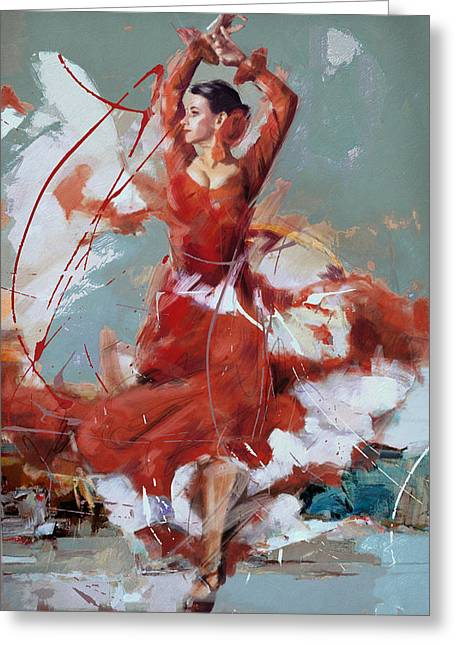 Expressionist Girl Greeting Cards - Flamenco 55 Greeting Card by Maryam Mughal