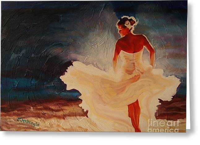 Dancing On The Beach Greeting Cards - Flamenco Allure Greeting Card by Janet McDonald