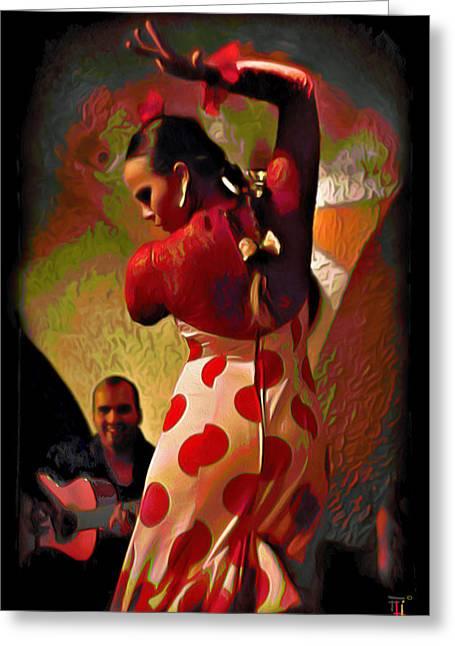 Tradigital Art Greeting Cards - Flamenco Greeting Card by  Fli Art