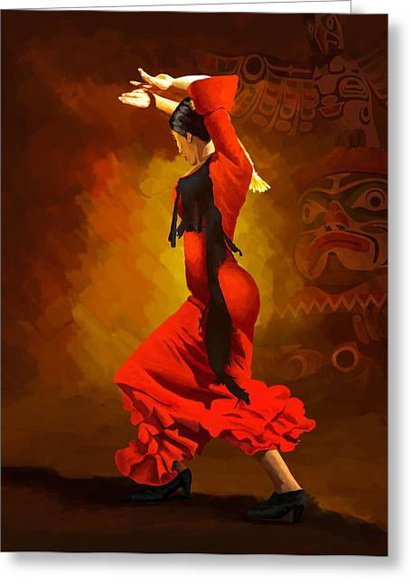 Hip Hop Dance Art Greeting Cards - Flamenco Dancer 0013 Greeting Card by Catf