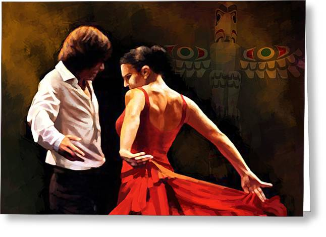 Coordination Greeting Cards - Flamenco Dancer 012 Greeting Card by Catf