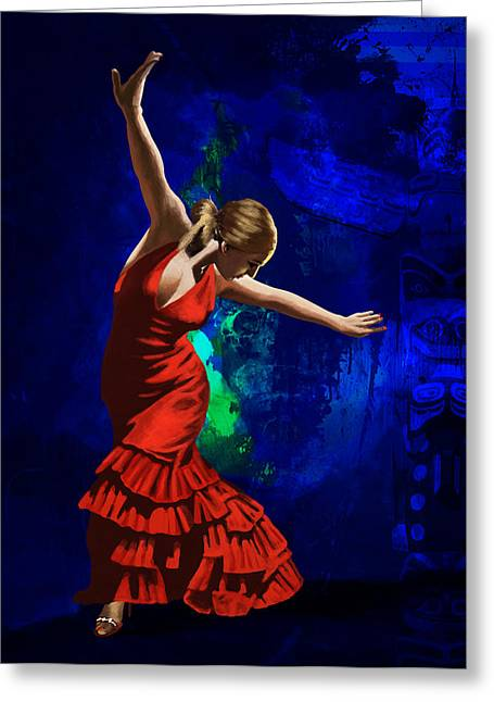 Coordination Greeting Cards - Flamenco Dancer 014 Greeting Card by Catf