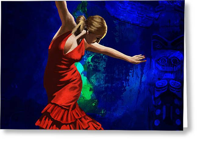 Flamenco Dancer 014 Greeting Card by catf