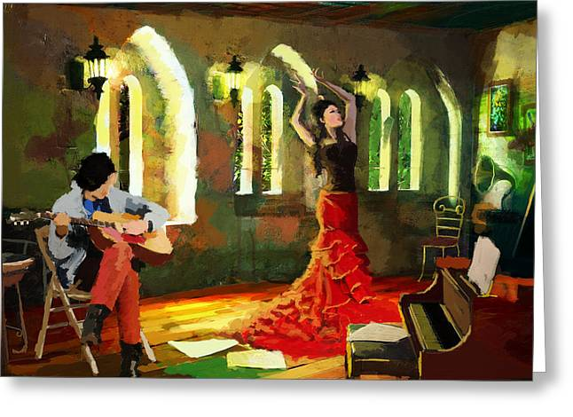 Coordination Greeting Cards - Flamenco Dancer 017 Greeting Card by Catf