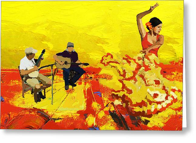 Expressionist Girl Greeting Cards - Flamenco Dancer 018 Greeting Card by Catf