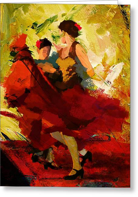 Wall Hangings Greeting Cards - Flamenco Dancer 019 Greeting Card by Catf