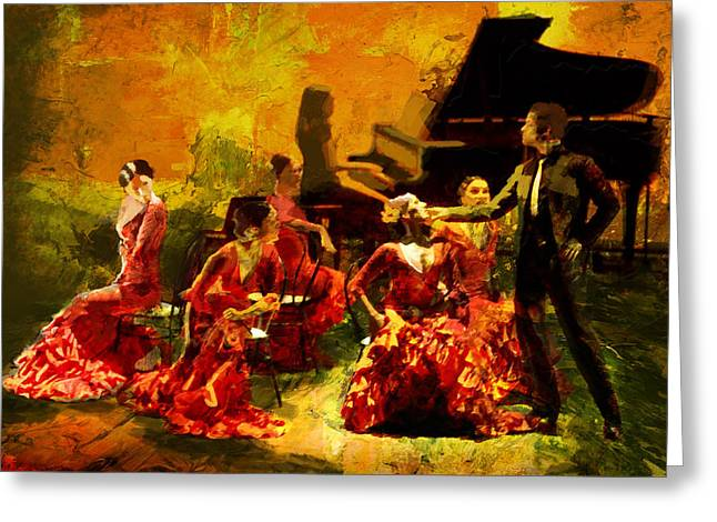Hip Hop Dance Art Greeting Cards - Flamenco Dancer 020 Greeting Card by Catf