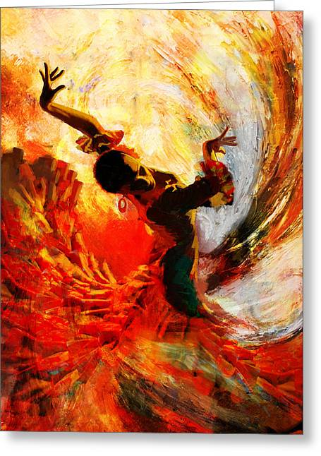 Expressionist Girl Greeting Cards - Flamenco Dancer 021 Greeting Card by Mahnoor Shah