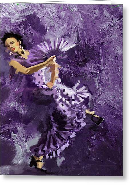 Coordination Greeting Cards - Flamenco Dancer 023 Greeting Card by Catf