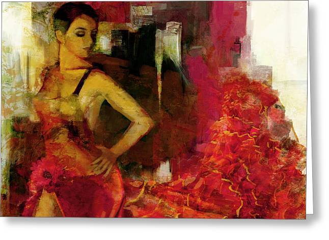 Flamenco Dancer 024 Greeting Card by Catf