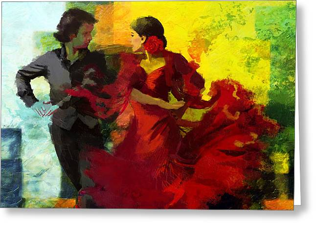 Hip Hop Dance Art Greeting Cards - Flamenco Dancer 025 Greeting Card by Catf