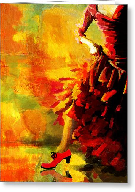 Coordination Greeting Cards - Flamenco Dancer 026 Greeting Card by Catf