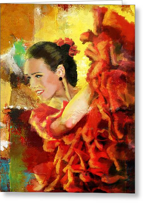 Hip Hop Dance Art Greeting Cards - Flamenco Dancer 027 Greeting Card by Catf