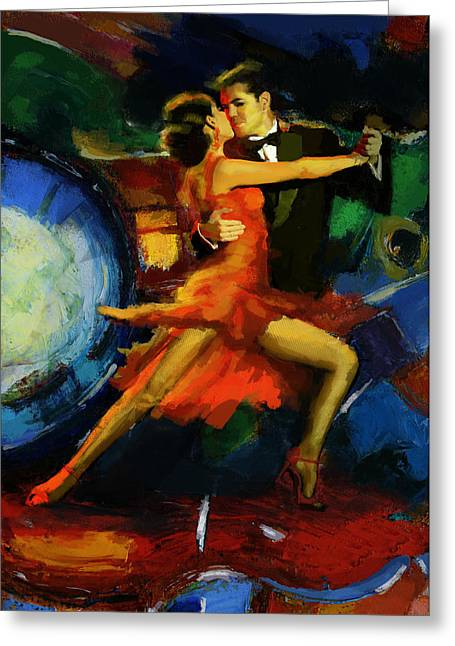 Expressionist Girl Greeting Cards - Flamenco Dancer 029 Greeting Card by Catf
