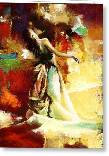 Coordination Greeting Cards - Flamenco Dancer 032 Greeting Card by Catf