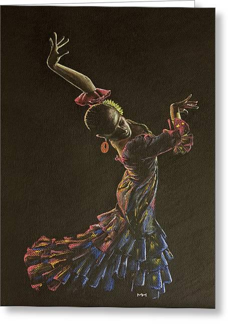 Flamenco Dancer In Flowered Dress Greeting Card by Martin Howard