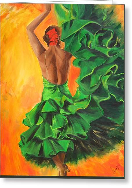 Tango Greeting Cards - Flamenco dancer in green dress Greeting Card by Sheri  Chakamian